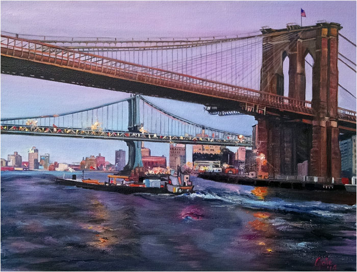 """Bridge to Brooklyn - 18x14"" Paper Print"