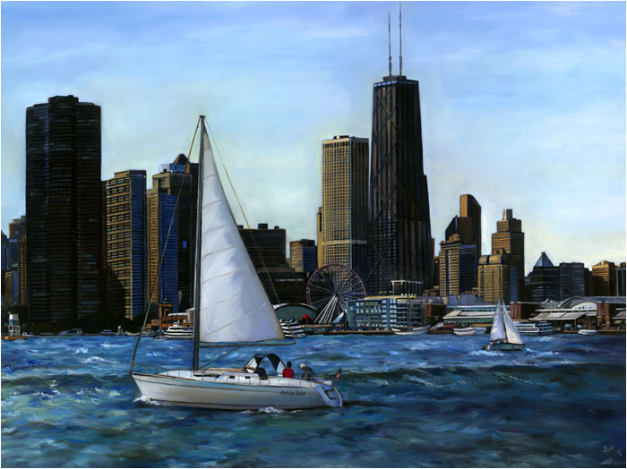 """Cruising""- 12x9"" Chicago Painting Paper Print"