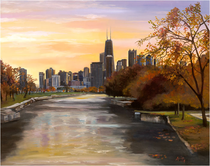 """Lincoln Park Sunrise"" - 15x12"" Chicago Painting Paper Print"