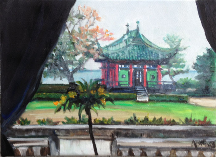 """MRS VANDERBILT'S TEA HOUSE"" - 8x6"" Original Oil Painting"
