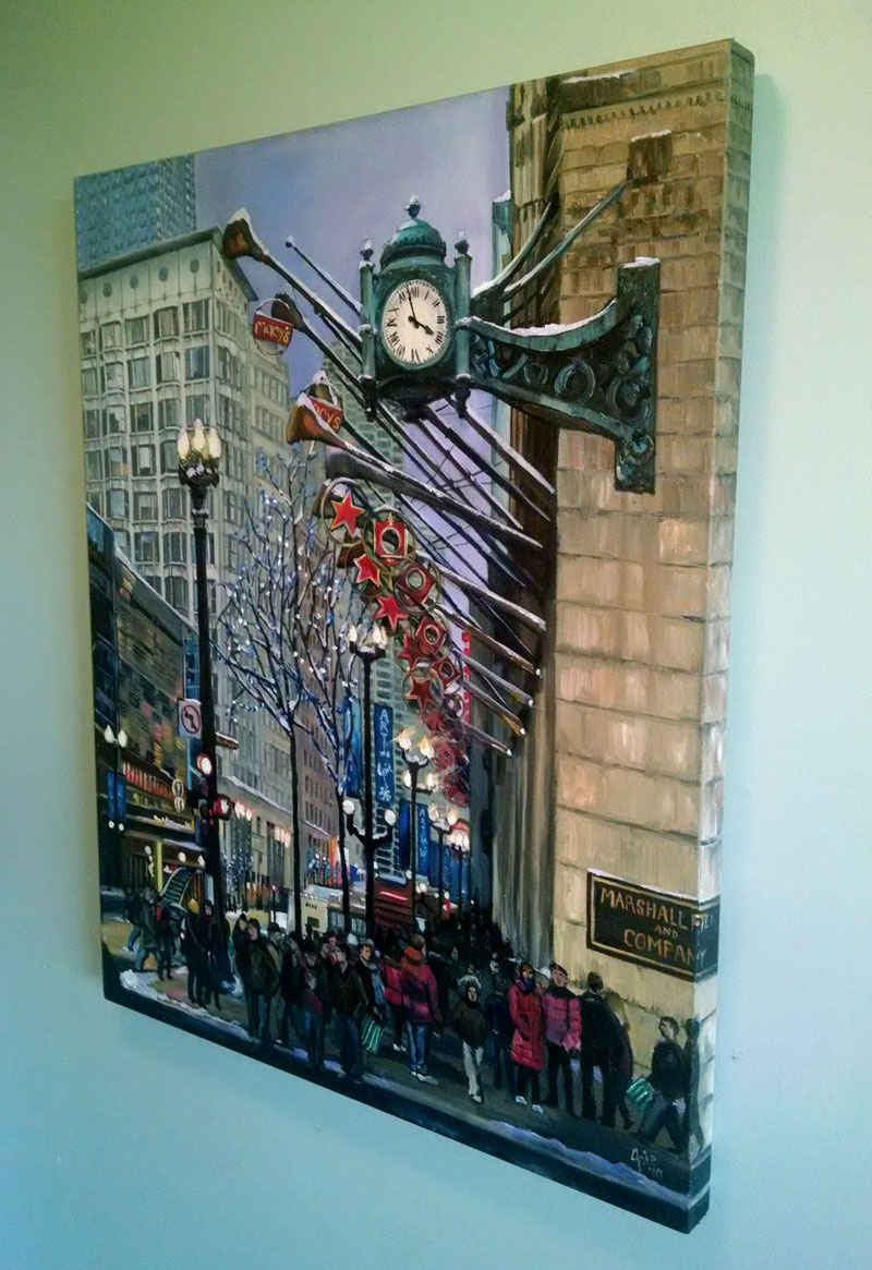 """Holiday on State Street"" - 24x30"" Original Chicago Oil Painting"