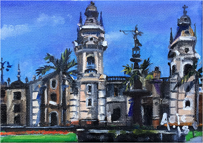 """Catedral de Lima"" - 7x5"" Original Oil Painting"