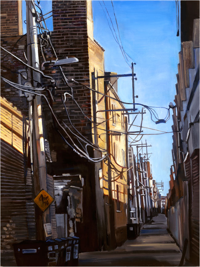 """Electric Alley"" - 14x18"" Chicago Painting Paper Print"