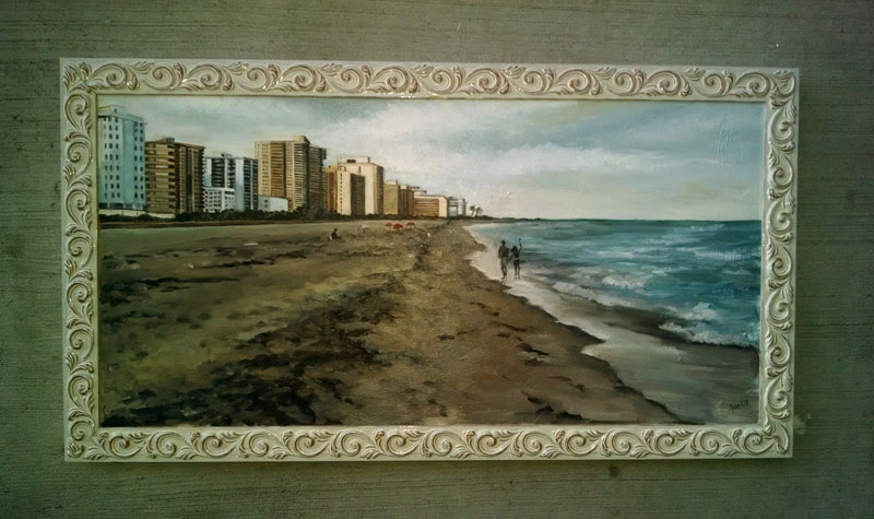 """CITY ON THE BEACH"" - 30x16"" Original Oil Painting"