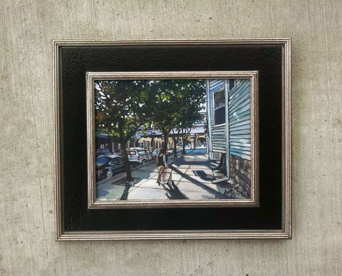 """WALKING TO UNDERPASS"" - 14x11"" Original Oil Painting"