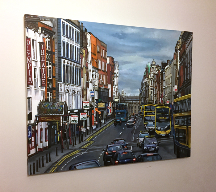 """Temple Bar Traffic"" - 40x30"" Original Oil Painting"