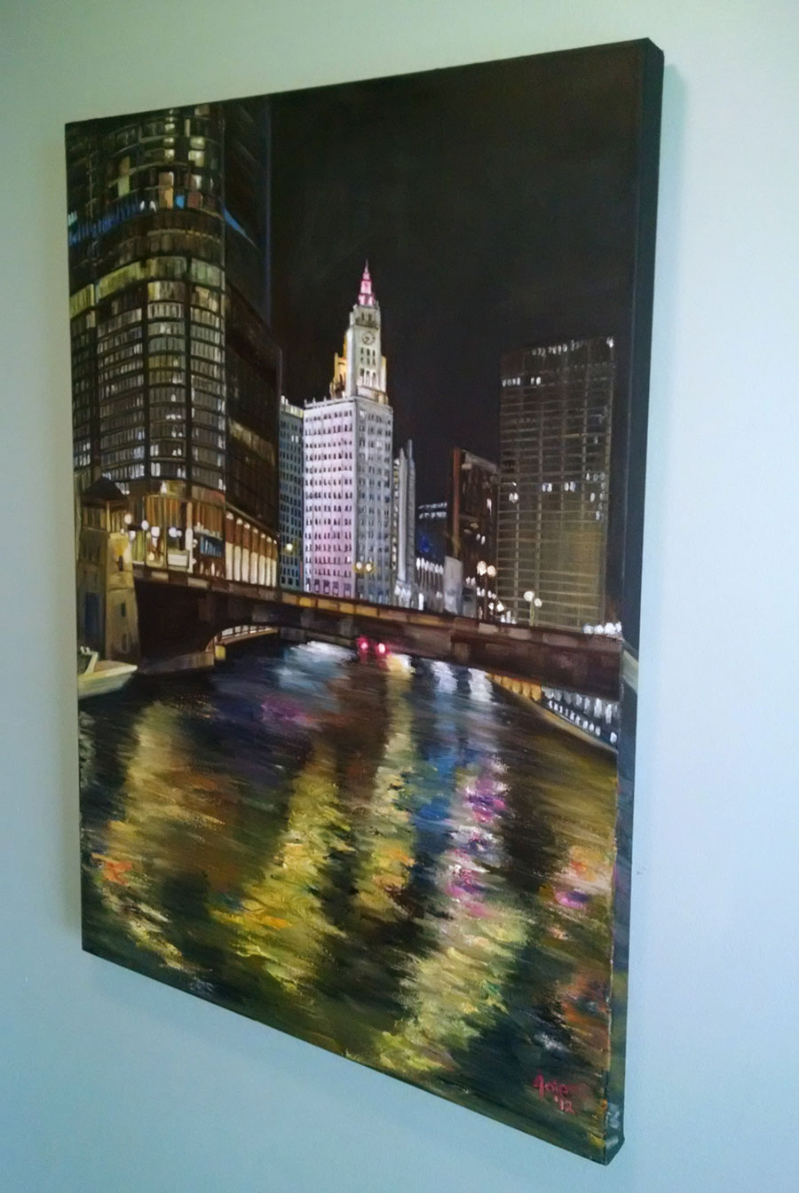 """Wrigley Lights"" - 24x36"" Original Oil Painting"