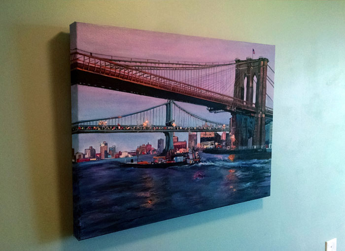 """BRIDGE TO BROOKLYN"" - 24x18"" Original Oil Painting"