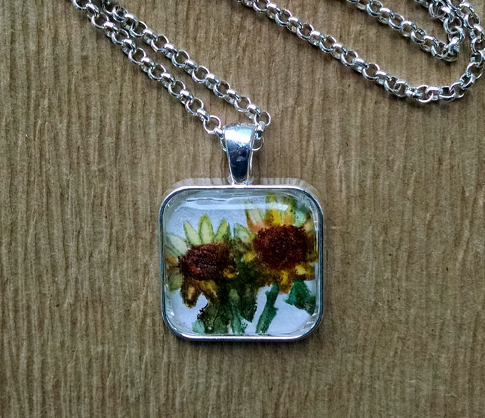Two Sunflowers OOAK Painting Pendant Necklace