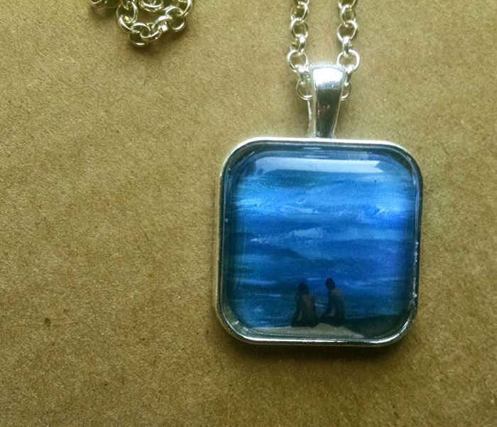 Beach Art Print Pendant Necklace