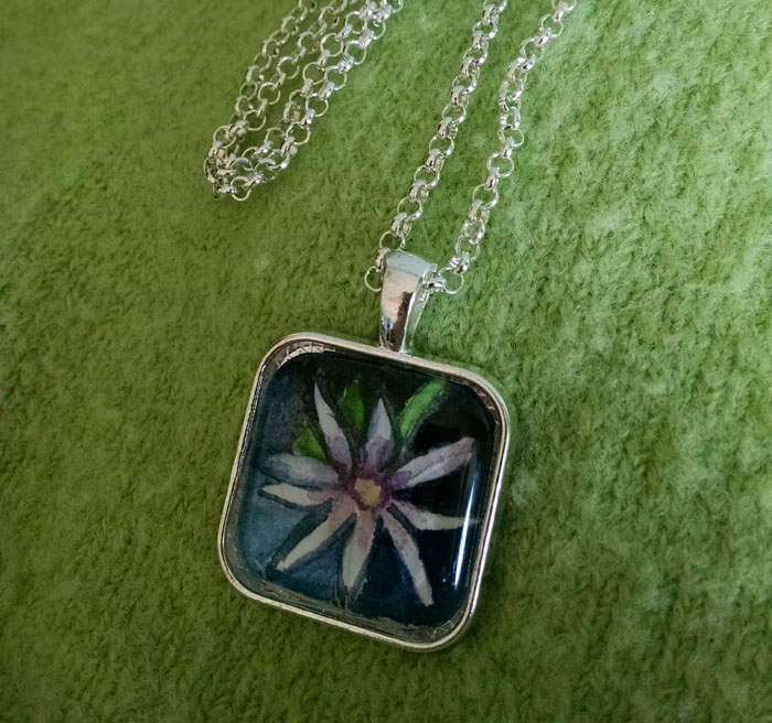 Dark Daisy OOAK Painting Pendant Necklace
