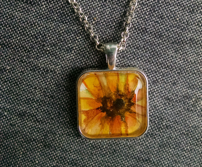 Gold Sunflower OOAK Painting Pendant Necklace