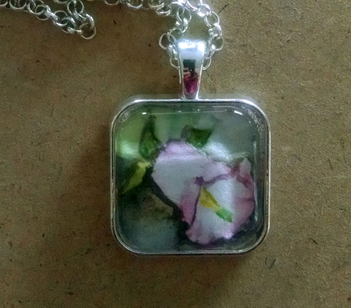 Delicate Floral OOAK Painted Pendant Necklace