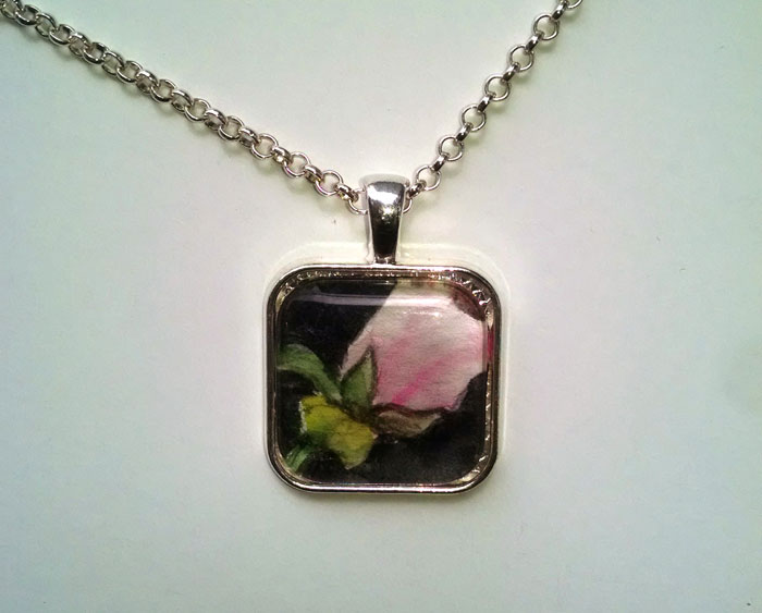 Pink Rose OOAK Painted Pendant Necklace