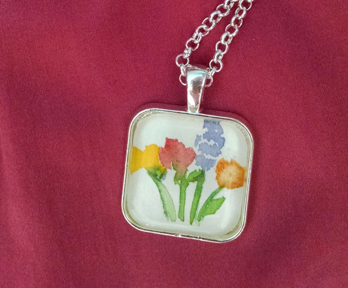 Spring Flowers OOAK Painting Pendant Necklace