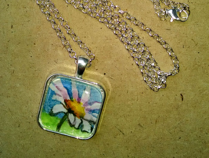 White Daisy Original Painting Pendant Necklace
