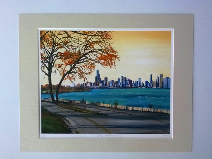 """ALONG LAKE MICHIGAN 2"" - Matted Print"