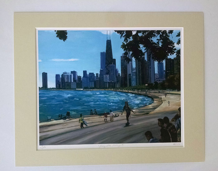 """ALONG LAKE MICHIGAN"" - Matted Print"