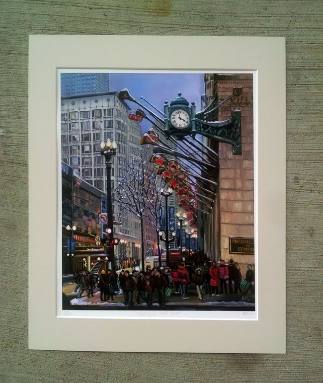 """HOLIDAY ON STATE STREET"" - Matted Print"