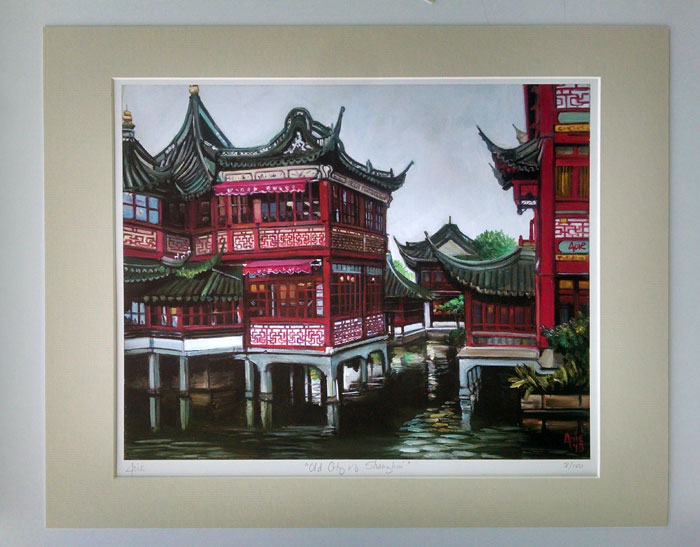 """OLD CITY OF SHANGHAI"" - Matted Print"