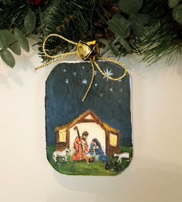 Nativity Scene OOAK Painted Ornament
