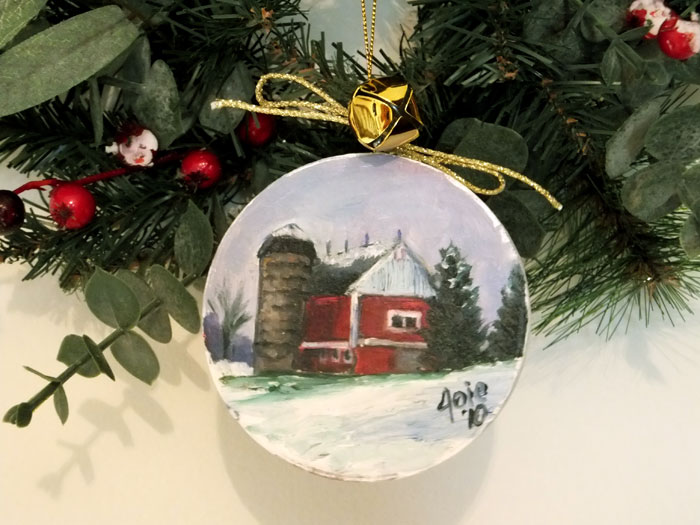 Round Red Barn OOAK Christmas Ornament