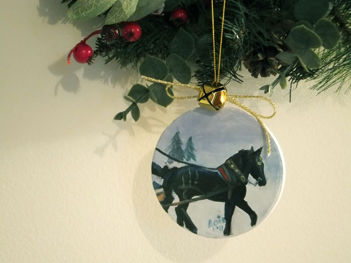 Sleigh Ride OOAK Painted Ornament