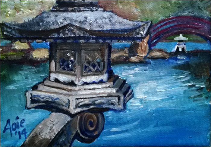 """OSAKA POND""- 7x5"" Original Oil Painting"