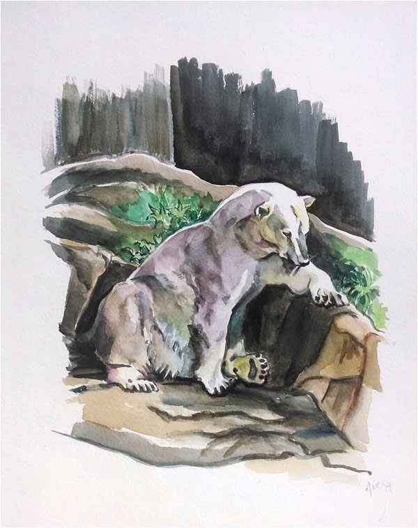 """POLAR BEAR"" - 11x14"" Original Watercolor Painting"