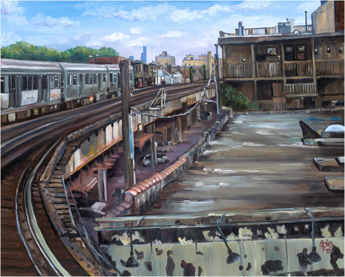 """Rooftop Terrace"" - 15x12"" Chicago Painting Paper Print"