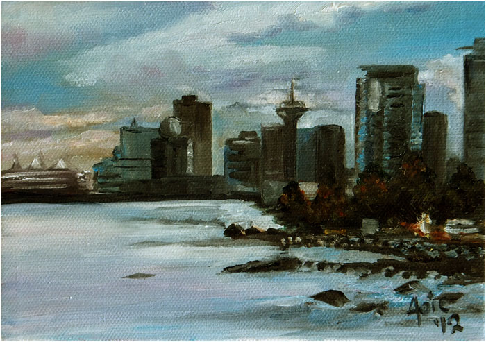 """WATER CITY"" - 7x5"" Original Oil Painting"