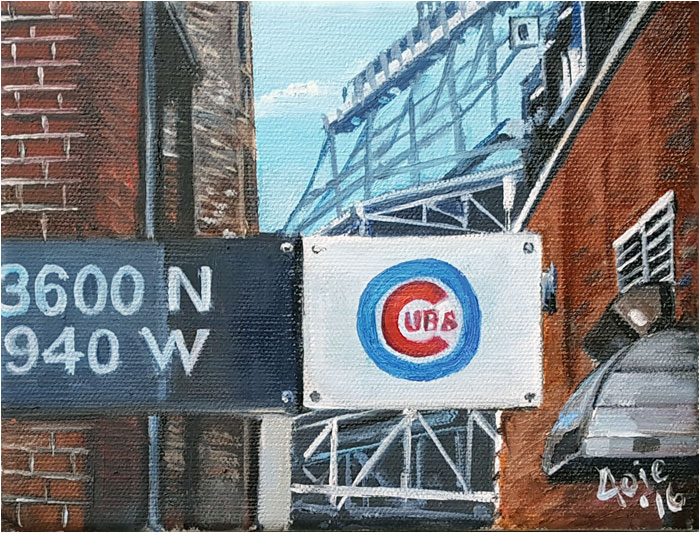 Chicago Cubs L Train Stop Painting