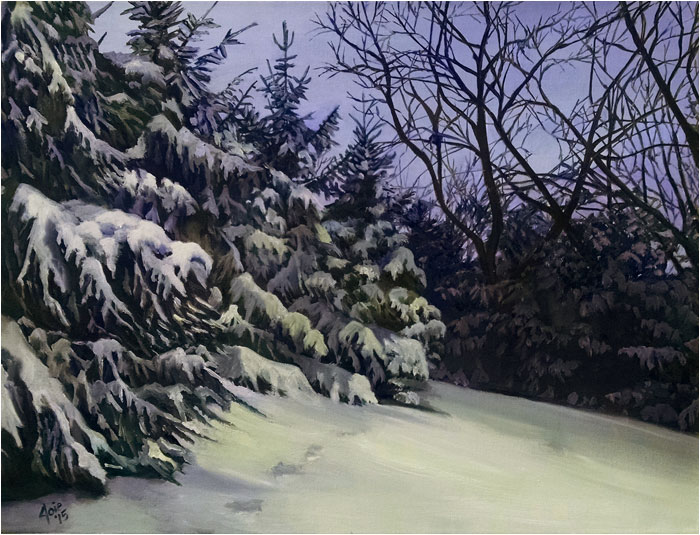 Snowy winter landscape oil painting, Silver Slope