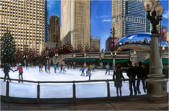 Chicago painting of Millennium Park, Millennial Skaters