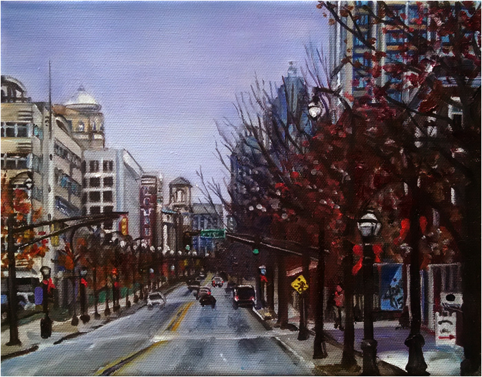 Art de joie atlanta cityscape oil painting peachtree street for Atlanta oil painting artists