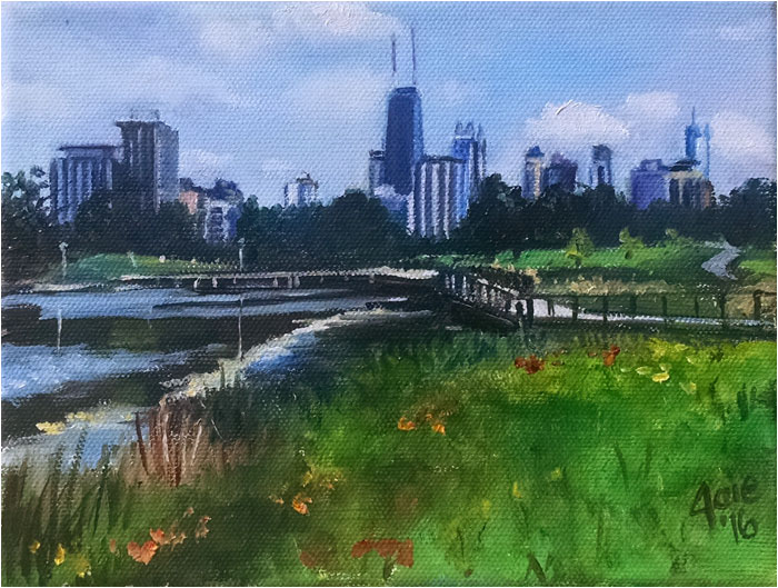 Mini Chicago Lincoln Park painting, Spring City Oasis
