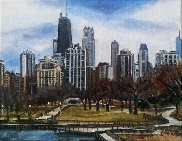 Chicago skyline plein air painting, Zoo View