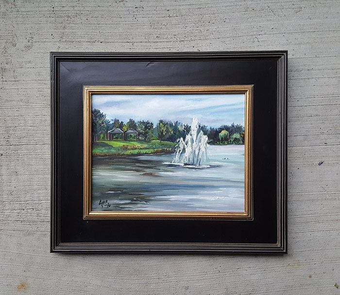 """Tranquil Fountain"" - 14x11"" Original Oil Painting"