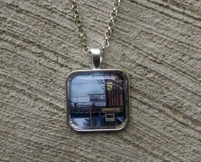 Chicago L Tracks Art Print Pendant Necklace