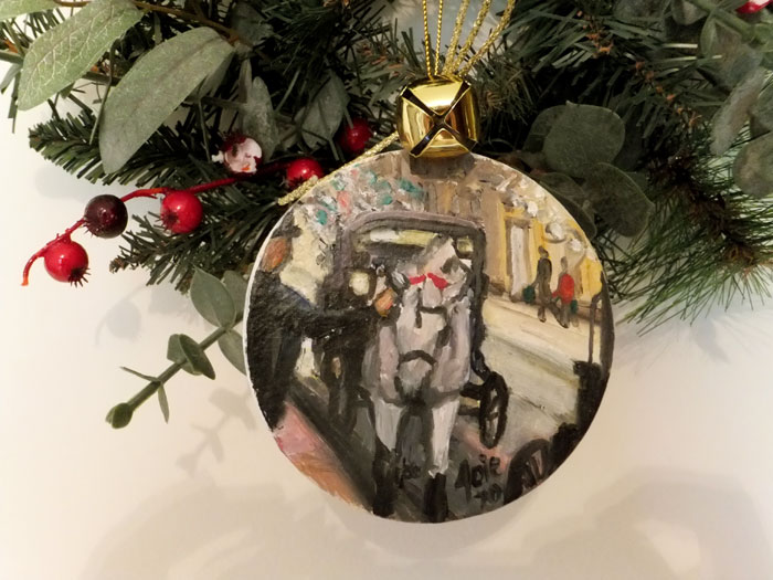 Holiday Carriage Horse OOAK Painted Ornament